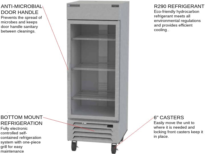 Beverage Air HBF27HC-1-G 30'' 26.57 cu. ft. Bottom Mounted 1 Section Glass Door Stainless Steel Reach-In Freezer