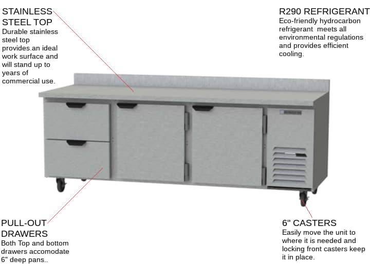 Beverage Air WTRD93AHC-2 93'' 2 Drawer Counter Height Worktop Refrigerator with Side / Rear Breathing Compressor - 39.8 cu. ft.