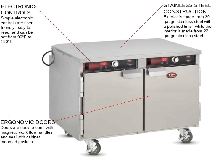FWE / Food Warming Equipment Co., Inc. HLC-10 Handy Line Undercounter Solid Door Mobile Heated Holding Cabinet, 120 Volts