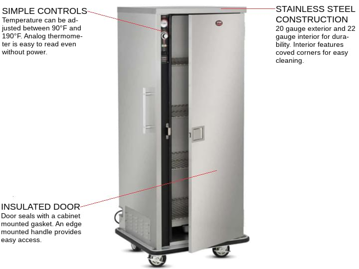FWE / Food Warming Equipment Co., Inc. P-80 1 Door Heated Banquet Cabinet Holds up to 64-80 Plates, 120 Volts