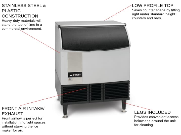ICE-O-Matic ICEU300HA 30 Half-Dice Ice Maker With Bin, Cube-Style - 300-400 lb/24 Hr Ice Production, Air-Cooled, 115 Volts