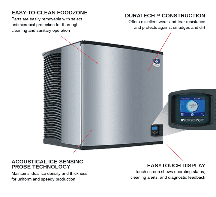 Manitowoc IYT1200W 30 Half-Dice Ice Maker, Cube-Style - 1000-1500 lbs/24 Hr Ice Production, Water-Cooled, 208-230 Volts
