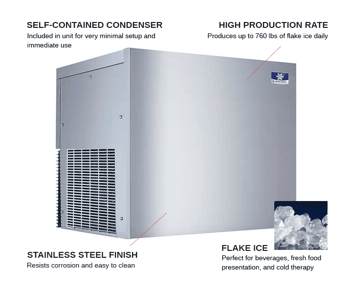Manitowoc RFF0320A 22 Flake Ice Maker, Flake-Style, 300-400 lbs/24 Hr Ice Production, 115 Volts, Air-Cooled