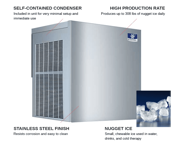 Manitowoc RNF0320A 22 Nugget Ice Maker, Nugget-Style - 300-400 lb/24 Hr Ice Production, Air-Cooled, 115 Volts