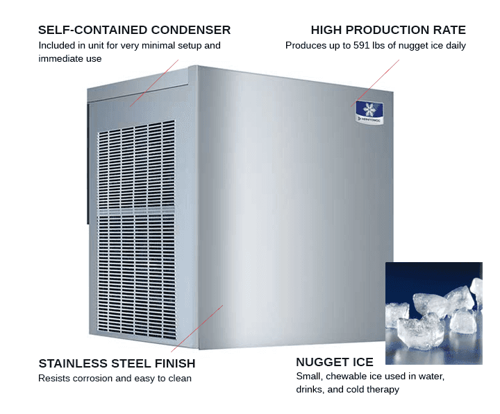 Manitowoc RNF0620A 22 Nugget Ice Maker, Nugget-Style - 500-600 lb/24 Hr Ice Production, Air-Cooled, 115 Volts