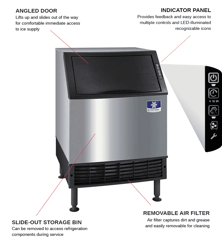 Manitowoc UDF0240A 26 Full-Dice Ice Maker With Bin, Cube-Style - 200-300 lbs/24 Hr Ice Production, Air-Cooled, 115 Volts