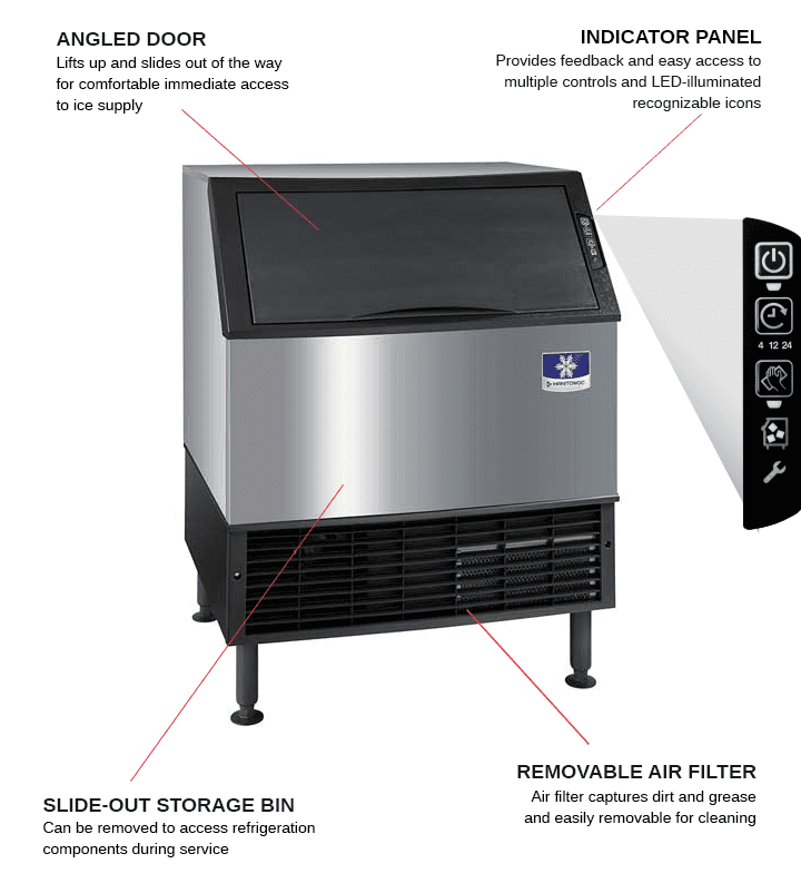Manitowoc UYF0310W 30 Half-Dice Ice Maker With Bin, Cube-Style - 200-300 lbs/24 Hr Ice Production, Water-Cooled, 115 Volts