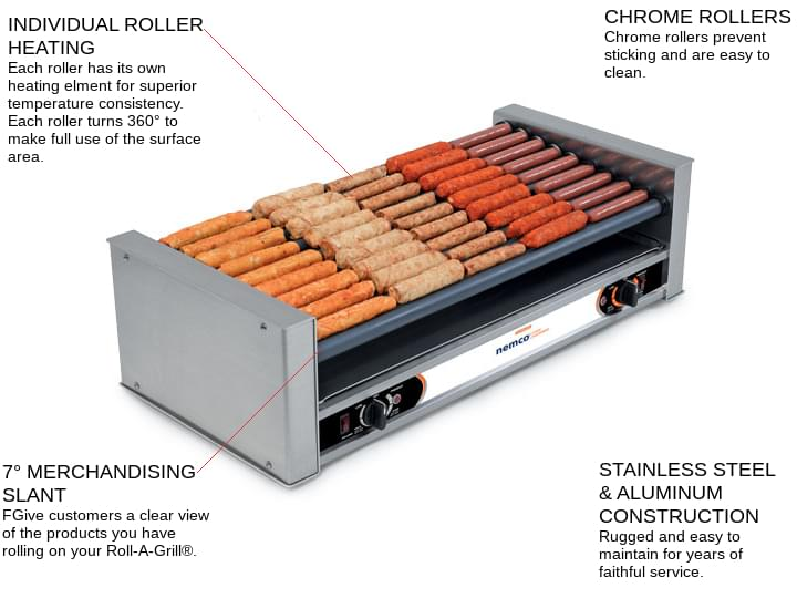 NEMCO 8036-SLT-220 Roll-A-Grill® 29.50'' Slanted Top Countertop Hot Dog Roller Grill with Individual Controls, 220 Volts
