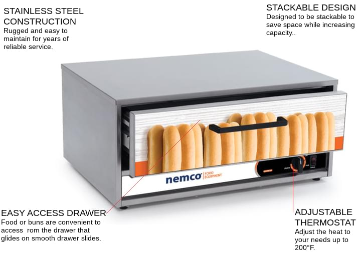 Nemco Food Equipment 8027-BW Moist Heat Bun/Food Warmer