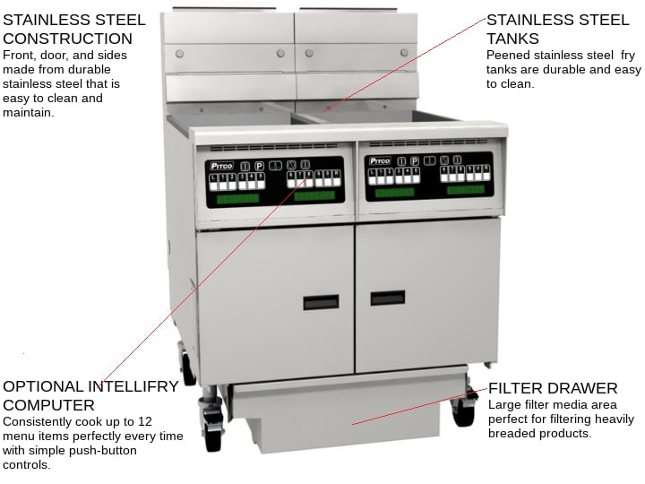 Pitco SE14X-4FD (4) 50 lb. Fry Tanks Electric Floor Fryer with Solid State Controls and Solstice Filter Drawer System, 208 Volts