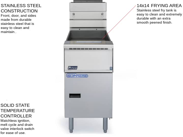Pitco SSH55R-4FD Solstice Supreme (4) 40-50 lb. Full Tanks Gas Floor Fryer with Solid State Controls and Solstice Filter Drawer System, 115 Volts - 400,000 BTU