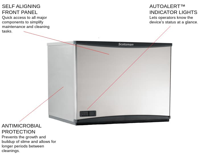 Scotsman C0330SW-1 30 Half-Dice Ice Maker, Cube-Style - 300-400 lb/24 Hr Ice Production, Water-Cooled, 115 Volts