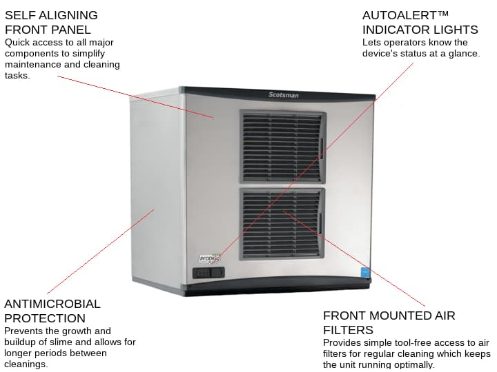 Scotsman C0830SA-32 30 Half-Dice Ice Maker, Cube-Style - 900-1000 lbs/24 Hr Ice Production, Air-Cooled, 208-230 Volts