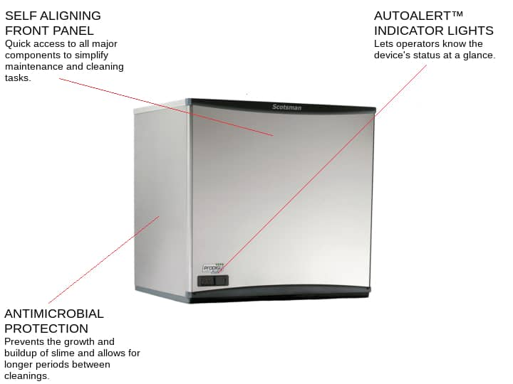 Scotsman C1030SW-32 30 Half-Dice Ice Maker, Cube-Style - 1000-1500 lbs/24 Hr Ice Production, Water-Cooled, 208-230 Volts
