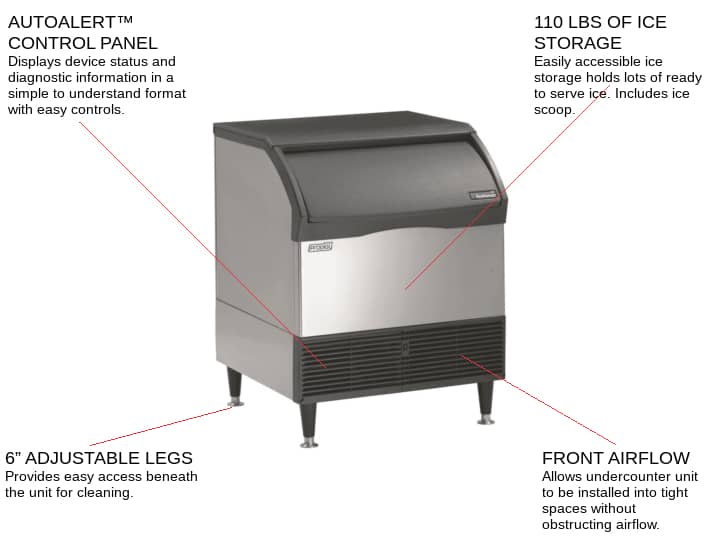Scotsman CU3030SA-1 30 Half-Dice Ice Maker With Bin, Cube-Style - 200-300 lbs/24 Hr Ice Production, Air-Cooled, 115 Volts
