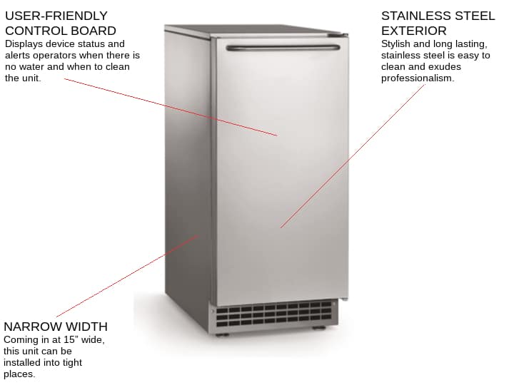 Scotsman CU50PA-1 14.88 Gourmet Ice Maker With Bin, Cube-Style - 50-100 lbs/24 Hr Ice Production, Air-Cooled, 115 Volts
