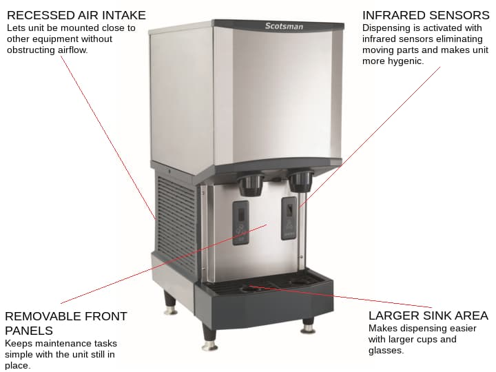 Scotsman HID312A-1    16.25 Nugget Ice Maker Dispenser, Nugget-Style - 200-300 lbs/24 Hr Ice Production, Air-Cooled, 115 Volts