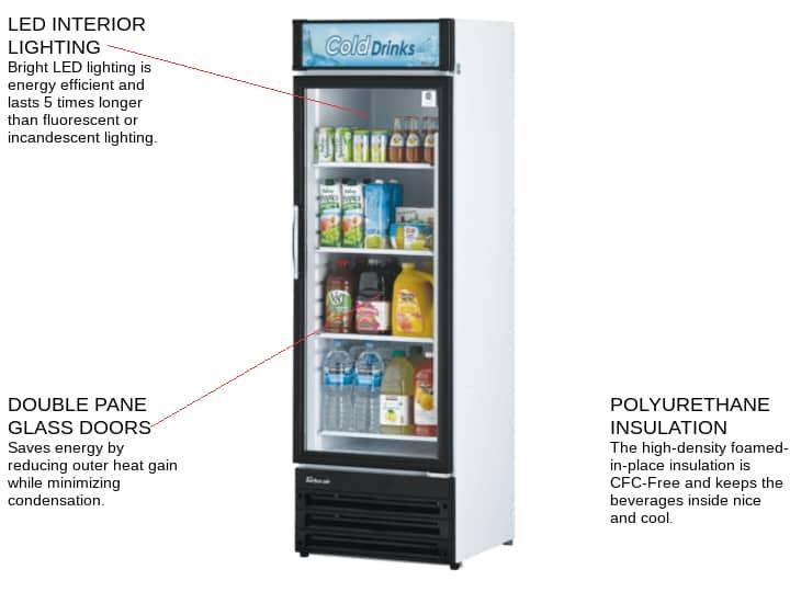 Turbo Air TGM-14RV-N6 23.62'' Black 1 Section Swing Refrigerated Glass Door Merchandiser