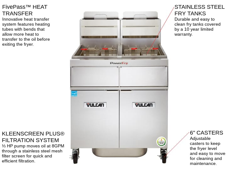 Vulcan 4VK65AF PowerFry5™ (4) 65-70 lb. Fryers Gas Floor Fryer with Solid State Controls and KleenScreen PLUS® Filtration System, 120 Volts - 320,000 BTU