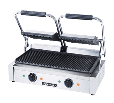"Admiral Craft SG-813 Sandwich / Panini Grill, Dual, with 19"" x 9-1/4"" Grooved Cast Iron Cooking Surface - 120 Volts"