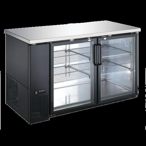 Admiral Craft Admiral Craft USBB-5928G Black 2 Glass Door Refrigerated Back Bar Storage Cabinet, 115 Volts