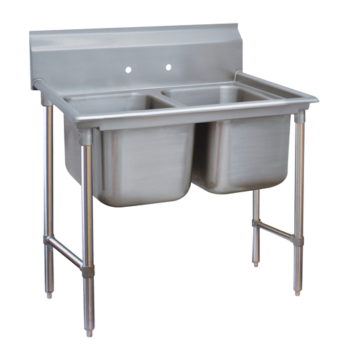 """Advance Tabco 9-22-40 Commercial Sink, (2) Two Compartment, 18 Gauge Stainless Steel Construction with Stainless Steel Legs and without Drainboard - 52"""" W"""