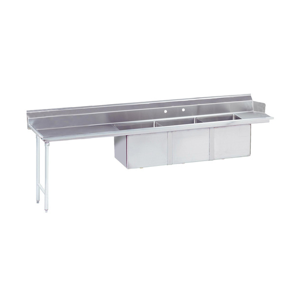 Advance Tabco DTC-3-1620-120L Dishtable with 3-compartment Sink
