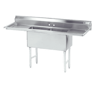 """Advance Tabco FS-2-2030-24L Fabricated Sink  2-compartment  24"""" left drainboard"""