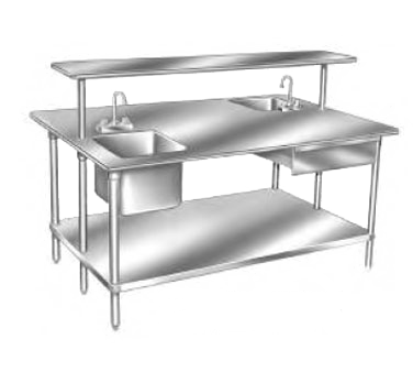 """Advance Tabco GLG-489 Work Table, 14 Gauge Stainless Steel Top with Undershelf, Galvanized Steel Legs and without Backsplash - 108""""W x 48""""D x 35.5""""H"""