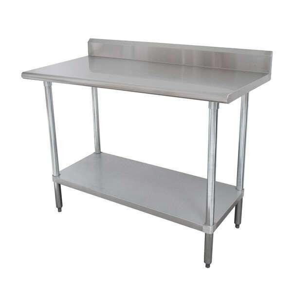 "Advance Tabco KLAG-305-X Work Table, 16 Gauge Stainless Steel Top with Galvanized Steel Undershelf and 5"" Backsplash - 60""W x 30""D"