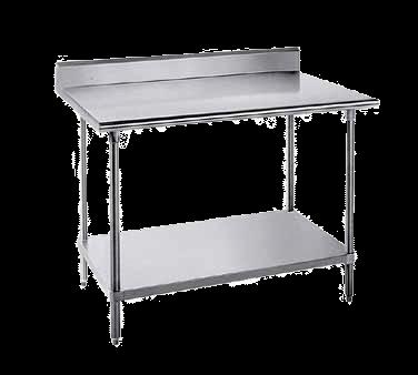 "Advance Tabco KLG-3611 Work Table, 14 Gauge Stainless Steel Top with Undershelf, Galvanized Steel Legs and 5"" Backsplash - 132""W x 36""D x 40.5""H"