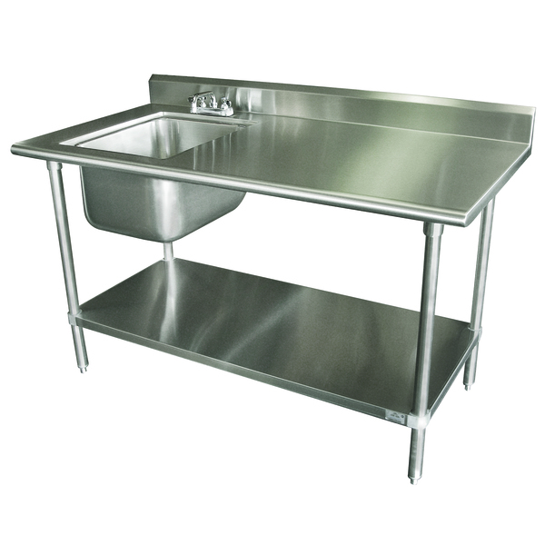 Advance Tabco KMS-11B-305L Work Table with Left Sink