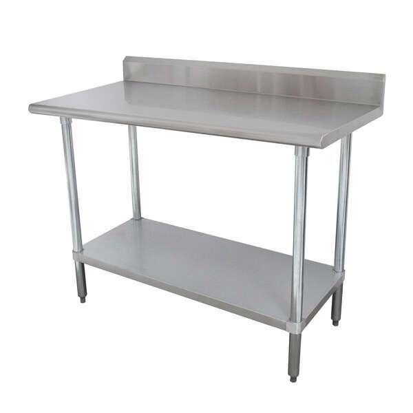 "Advance Tabco KMSLAG-300-X Work Table, 16 Gauge Stainless Steel Top with Undershelf, Stainless Steel Legs and 5"" Backsplash - 30""W x 30""D x 40.5""H"
