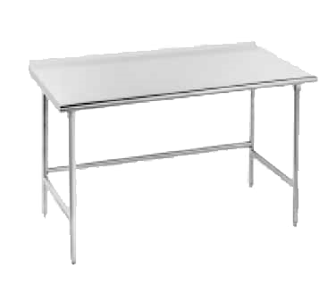 """Advance Tabco TFSS-3012 Work Table, 14 Gauge Stainless Steel Top with Open Base, Stainless Steel Legs and 1 1/2"""" Backsplash - 144""""W x 30""""D x 37""""H"""