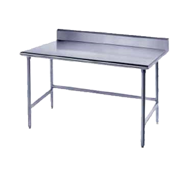 """Advance Tabco TKLG-249 Work Table, 14 Gauge Stainless Steel Top with Open Base, Galvanized Steel Legs and 5"""" Backsplash - 108""""W x 24""""D x 40.5""""H"""
