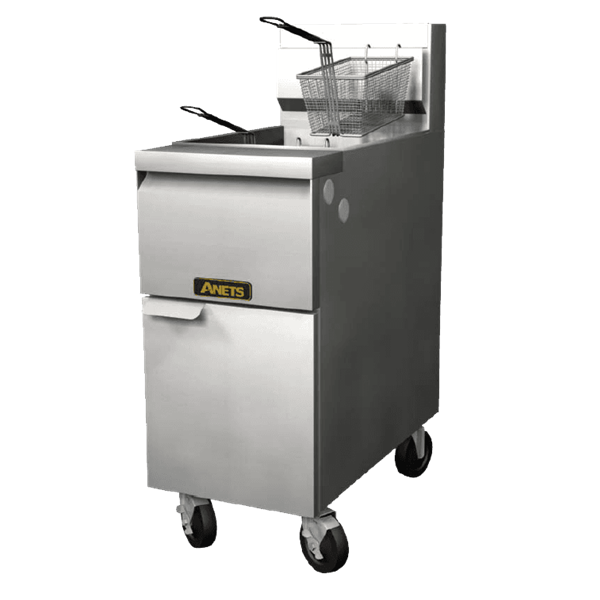 Anets 14GS-4FM GoldenFry™ (4) 35 - 50 lb. Full Tanks Gas Floor Fryer with Millivolt Thermostatic Controls and Filter Mate Filtration System, 120 Volts - 444,000 BTU