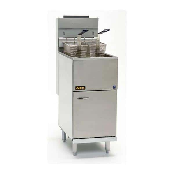 Anets Anets 40AS 40-45 lb. Stainless Steel Gas Floor Model Full Pot Fryer with Millivolt Controls - 107,000 BTU