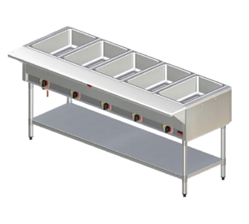 APW Wyott PSST-5S Champion (5) Sealed Wells Stainless Steel Electric Hot Food Serving Counter with Infinite Controls, 120 Volts