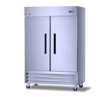 Arctic Air AR49 54'' 49 cu. ft. Bottom Mounted 2 Section Solid Door Stainless Steel and Aluminum Reach-In Refrigerator