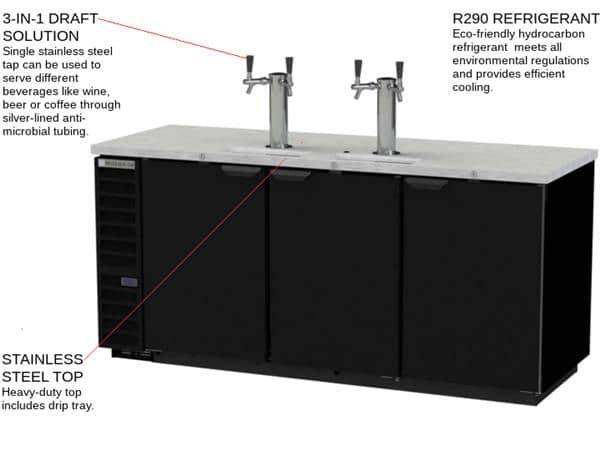 Beverage Air Beverage Air DD78HC-1-B 4 Taps 1/2 Barrel Draft Beer Cooler - Black, 4 Kegs Capacity, 115 Volts
