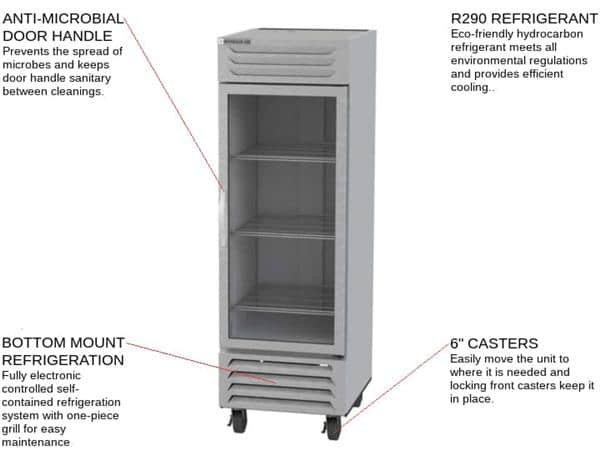Beverage Air FB23HC-1G 27.25'' 22.5 cu. ft. Bottom Mounted 1 Section Glass Door Stainless Steel and Aluminum Reach-In Freezer