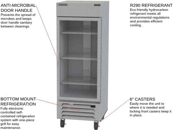 Beverage Air Beverage Air HBF27HC-1-G 30'' 26.57 cu. ft. Bottom Mounted 1 Section Glass Door Stainless Steel Reach-In Freezer