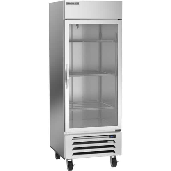 Beverage Air HBR27HC-1-G 30'' 25.88 cu. ft. Bottom Mounted 1 Section Glass Door All Stainless Steel Reach-In Refrigerator