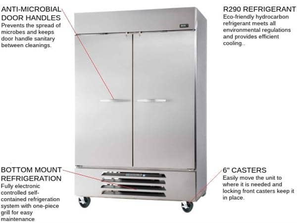 Beverage Air RB49HC-1S 52'' 46.15 cu. ft. Bottom Mounted 2 Section Solid Door Reach-In Refrigerator