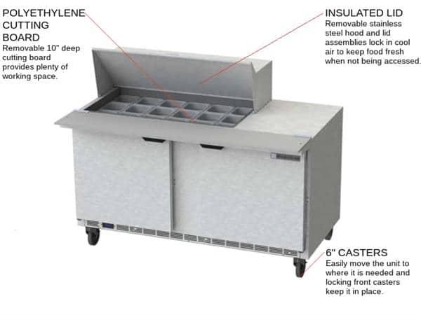 Beverage Air Beverage Air SPE60HC-18M 60'' 2 Door Counter Height Mega Top Refrigerated Sandwich / Salad Prep Table