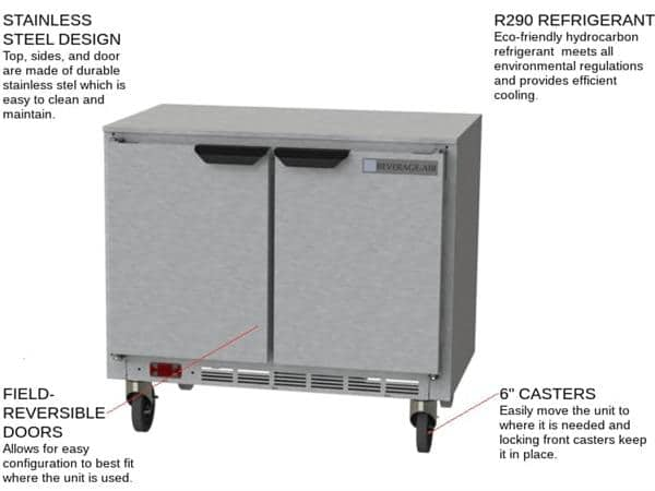 Beverage Air UCR34HC 34'' 2 Section Undercounter Refrigerator with 2 Left/Right Hinged Solid Doors and Side / Rear Breathing Compressor