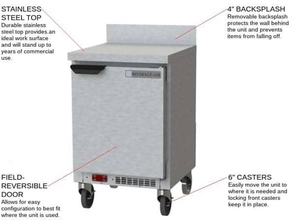 Beverage Air WTR20HC 20'' 1 Door Counter Height Worktop Refrigerator with Side / Rear Breathing Compressor - 2.25 cu. ft.