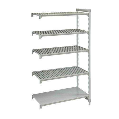 """Cambro CPA243084VS5PKG Camshelving® Premium Series NSF 5-Tier Add-On Shelving Unit with (4) Vented & (1) Solid Polypropylene Shelf Plates and 800 lbs. Capacity - 30""""W x 24""""D x 84""""H"""