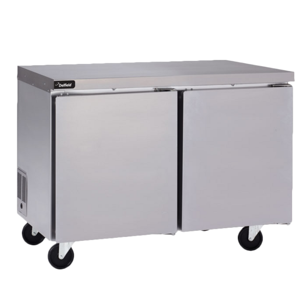 Delfield Delfield GUF48P-S 48'' 2 Section Undercounter Freezer with 2 Left/Right Hinged Solid Doors and Side / Rear Breathing Compressor