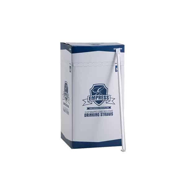 "RJ Schinner E161011WR Empress Jumbo Straw Paper Wrapped 10.25"" White w/ Red Stripe, Boxed"